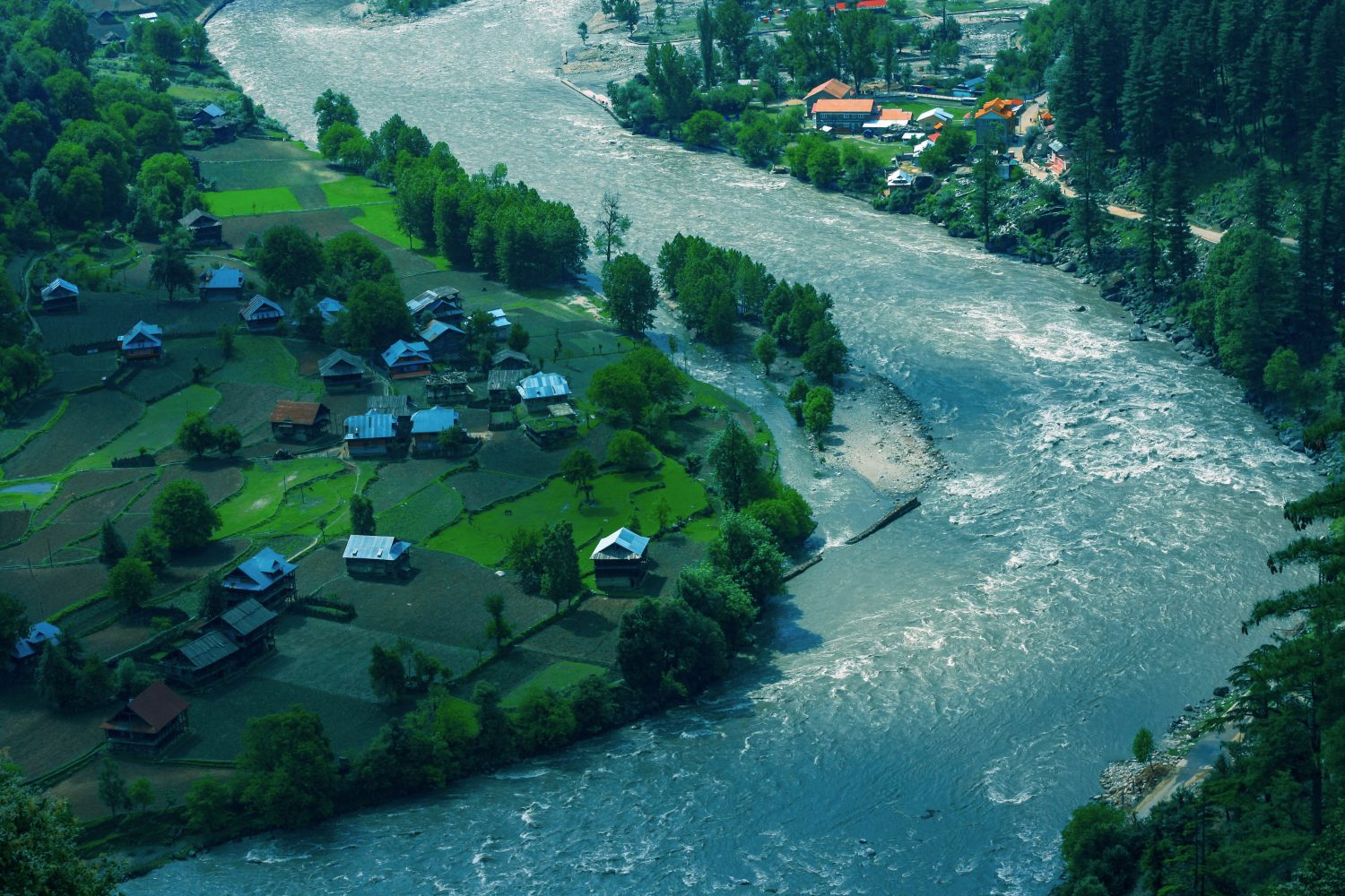 The aerial view of one of the majestic and beautiful valleys of Kashmir
